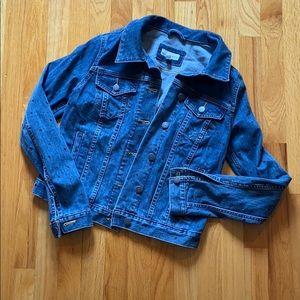 LOFT polka dot denim jean jacket size S